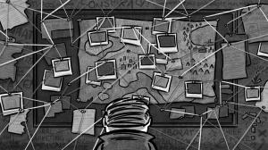 Nwar Detective Cartoon - Conspiracy Theory Bulletin Board