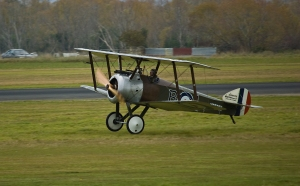 Sopwith Camel. Note the machine gun positioned right behind the propeller blades.