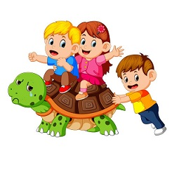 illustration of children's riding giant turtle