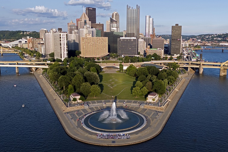 Point State Park and the Pittsburgh skyline